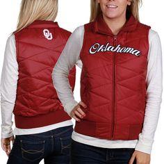 Oklahoma Sooners Ladies Crimson Full Zip Bubble Vest