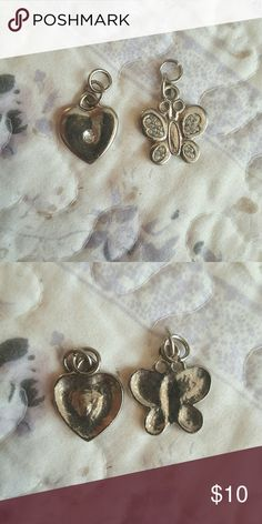 Set Of Two Charms- Butterfly & Heart Used. Not sure of material but cute for a charm bracelet. Jewelry