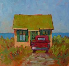 """""""Provincetown Shed12x12 oil on Birch PanelThis is an iconic cottage in Truro, MA."""" - Original Fine Art for Sale - © Mary Sheehan Winn"""