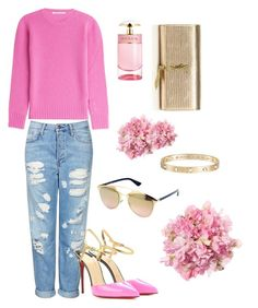 """""""Pink & Gold"""" by kikistylealert on Polyvore featuring Yves Saint Laurent, Topshop, Christian Louboutin, Agnona, Cartier, Christian Dior, Prada, women's clothing, women and female"""