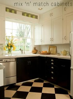 dark lower cabinets with light upper cabinets