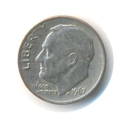 Vintage Coin USA One Dime 1967 CodeJMC1512 by JMCVintagecards