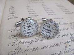 Laugh Love Dictionary Cuff Links for Birthday by KristinVictoria