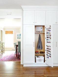 Foyer + Entry Decorating Ideas. Cubby by the door. Lockers for family members.