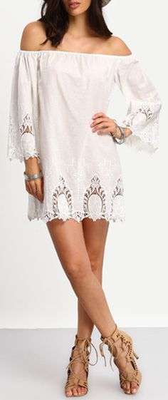 If you want a beach off the shoulder dress that is not that expensive. Go shein.com to find yours. they have nice design with soft material. and i find this one for me with just US$10.31. Beige Off The Shoulder Bell Sleeve Crochet Dress from shein.com.