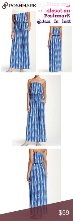 "Printed Strapless Maxi Dress Printed Strapless Maxi Dress - Strapless bandeau neck - Banded drawstring waist - Allover print - Approx. 57"" length - Color: ISLA AZURE Fiber Content: 95% rayon, 5% spandex. Macbeth Collection Dresses Maxi"