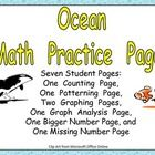 This packet includes 7 standards-based math activities for a kindergarten classroom with an ocean theme!! On one page, students count sets and ...