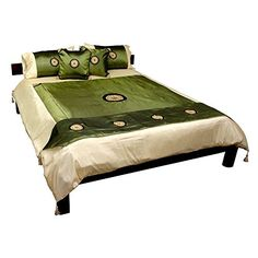 I love the look of oriental bedding sets.  This is very popular lately when it comes to green King Bedding Comforter Sets.           Oriental Furniture Thai Silk Medallion Duvet Set - Jade - King