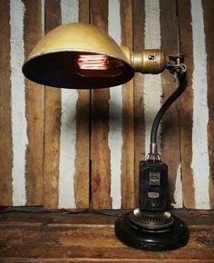 Vintage Upcycled One-of-a-kind Steampunk Machine Industrial Age Pixar Gooseneck Desk Lamp w/ Brown Shade & Edison Style Filament Light Bulb