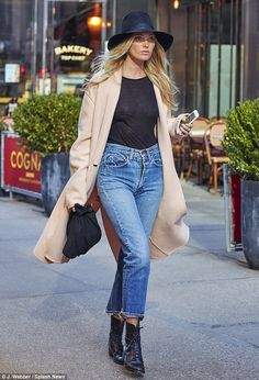 Cold front: Elsa Hosk was spotted arriving at a fitting for the Victoria's Secret Fashion ...