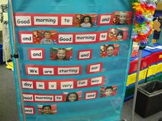 Back to school song- put into flip chart and change pics daily. Kids would be on the edge of their seats waiting for their picture to come up!