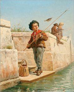 Sylvius D.  Paoletti (1864-1921, Italian)- The fisher boy