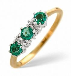 Set with real emerald and diamond. 9ct Yellow Gold. Width of ring approx. | eBay!