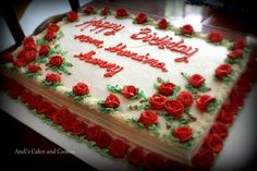 90 red roses for a 90th birthday.  Full sheet cake.