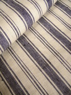 METERAGE French Belgian Linen ticking fabric by Libeco - Antibes Navy Blue Stripe. Price per 25cm interval. USD56 per metre