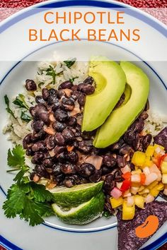 This easy chipotle black bean recipe takes things up a notch with a little bit of smoky pepper. It is paired with tangy and moist cilantro lime rice Chipotle Black Beans, Asian Recipes, Mexican Food Recipes, Vegetarian Recipes, Healthy Recipes, Cilantro Recipes, Avocado Recipes, Black Bean Recipes, Cinco De Mayo