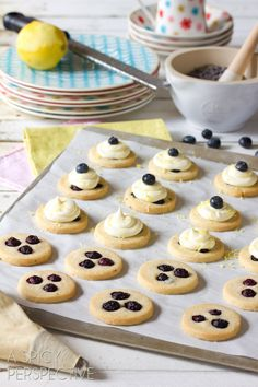 Blueberry Shortbread Cookies with Lemon Frosting. Think they'd be great with lemon curd too.