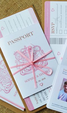 Passport style wedding invitation with optional RSVP. This invitation has an insert printed on three sides with all your… – wedding Sweet 16 Party Themes, Sweet 16 Parties, Passport Wedding Invitations, Wedding Stationery, Paris Invitations, Getting Married Abroad, Wedding Abroad, Invitation Cards, Ticket Invitation