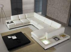 Furniture U Shape White Leather Sofa Color With Square Low Coffee Table Determining the Stunning Sofa for Sale With the Original Leather Material