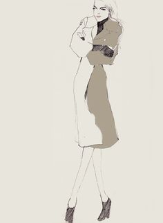 Fashion illustration with model in a chic trench coat; stylish fashion drawing // Bernadette Pascua