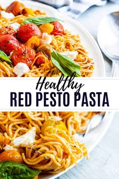 This Red Pesto Pasta recipe is easy, healthy and comes together in under 30 minutes. The pasta is topped with roasted tomatoes, fresh basil and mozzarella. Pesto Pasta Recipes, Pasta Dinner Recipes, Roasted Tomato Pasta, Roasted Tomatoes, Pasta Dishes, Food Dishes, Food Food, Main Dishes, Side Dishes