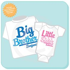 Set of 2, Big Brother and Little Sister Shirt and Onesie Personalized Infant, Toddler or Youth Tee Shirt or Onesie Pregnancy Announcement