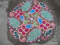 Rangoli 10 dots 2 lines end with 2 dots. by revathiilango Rangoli Designs With Dots, Beautiful Rangoli Designs, Simple Rangoli, Simple Designs, Garden, Cute, Flowers, Painting, Home Decor