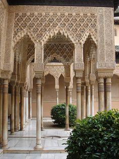 "Visited in 1999 - Colums at the ""Patio de Los Leones"" at La Alhambra, Granada, Spain. Islamic Architecture, Art And Architecture, Architecture Details, Granada Andalucia, Granada Spain, Beautiful World, Beautiful Places, Alhambra Spain, Places In Spain"