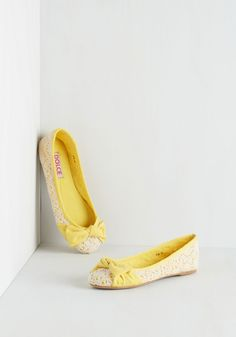 If, And, or Buttercup Flat. With each step in these canary-yellow ballet flats, the day seems that much brighter! #yellow #modcloth