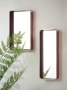 Two Copper Edge Mirrors - Indoor Living Corner Mirror, Hallway Mirror, Mirror With Shelf, Copper Room Decor, Farrow And Ball Living Room, Copper And Grey, Contemporary Frames, Hallway Decorating, Mirrors