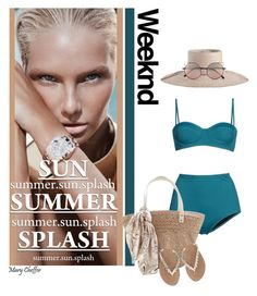 """""""Beige and Teal"""" by mcheffer ❤ liked on Polyvore featuring Retrò, Zimmermann, M&Co, Linda Farrow, swimsuit, colorchallenge, beigeandteal and 2pcswimsuit"""