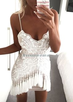 Amber Fringe Dress - White