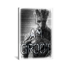 "East Urban Home Marvel Comics I Am Groot, Movie Graphic Art on Canvas Size: 12"" H x 8"" W x 0.75"" D"