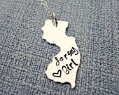 Hand Stamped Sterling Silver Custom State Necklace New Jersey Jersey Girl Hometown Necklace