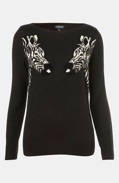 Topshop 'Mirrored Zebras' Sweater | Nordstrom