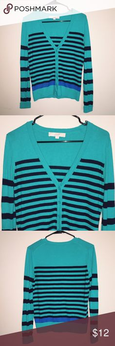 Ann Taylor LOFT striped cardi (turquoise) •excellent condition •Ann Taylor LOFT •striped •button down •cardigan •turquoise •blue •size small, fit is true to size LOFT Sweaters Cardigans