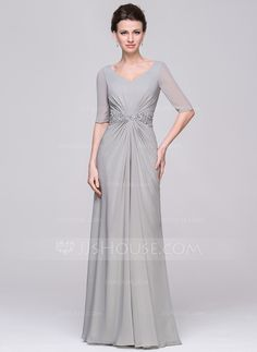 A-Line/Princess V-neck Floor-Length Chiffon Mother of the Bride Dress With Ruffle Beading Appliques Lace Sequins (008058430)