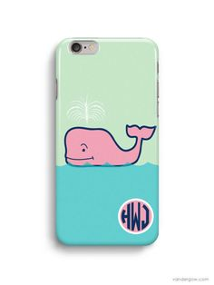 Cute Whale Monogram Inspired Vineyard Vines iPhone 6 Case, iPhone 5S Case