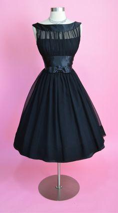 1950's Silk Chiffon Illusion Bodice Dress