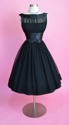1950's Silk Chiffon Illusion Bodice Dress