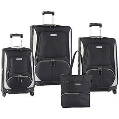 The Classic Blackgrey Nautica Downhaul Spinner Luggage Set ** To view further for this item, visit the image link. Wedding Gift Registry, Old Suitcases, Bedding Shop, Luggage Sets, Bath Towels, Amazon, Classic, Bags, Image Link