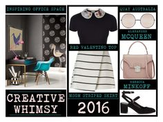 """""""Office Style - Creative Whimsy"""" by latoyacl ❤ liked on Polyvore featuring RED Valentino, MSGM, Rebecca Minkoff, Alexander McQueen and Quay"""