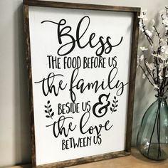 Bless the food before us, the family beside us, and the love between us. A HUGE, gorgeous and neutral framed wood sign that would make a perfect statement piece for the kitchen or dining room! Handmade on high quality wood, white-washed/distressed and framed in a dark walnut finish for a perfectly rustic look. Lettering is hand painted with black chalk paint and each piece is unique due to the natural variation of grain and knots in the wood. Approximate size 20x30 (may vary up to 1) and…