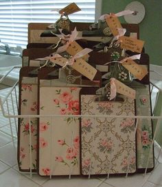 Old Clipboards...made into vintage chic boards using old wallpaper pieces or scrapbooking papers, old jewelry & tags!  This site is loaded with ideas for re-purposing clipboards. Love these...they would make great gifts!