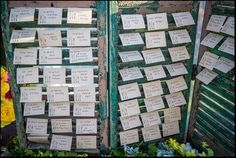 DIY project .. seating card display from window shutters #EventPlanning  Or a christmas card display or magazines!