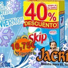 jacrix en #yecla te ofrece el detergente para 70 lavados skip con un 40% de dto al precio de 10,75 eur aprevechate !!!