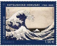 "Sello: Katsushika Hokusai - ""The Great Wave"" (Francia) (Art) Yt:FR 6057 Postage Stamp Design, Postage Stamps, Art Postal, Japon Tokyo, Mont Fuji, Graphisches Design, Kind Of Blue, Japanese History, Katsushika Hokusai"