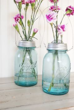 vintage mason jars and carnations.  The smell of carnations always reminds me of my Nana.  It was her fav flower