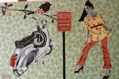 dids world Vespa Girl, Painting Of Girl, Collage, Colours, Paper, Collages, Collage Art, Colleges