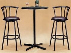 Bar Table and Chairs Set 3 Piece Round Pedestal Dining Table Counter Kitchen Pub Home Bar Furniture, Outside Furniture, Outdoor Furniture Sets, Furniture Ideas, Small Bar Table, Bar Table Sets, Bar Tables, Outdoor Patio Bar Sets, High Top Tables